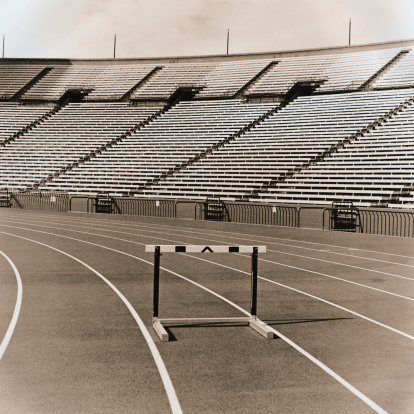 Sepia Toned「Track with Hurdle and Bleachers」:スマホ壁紙(1)