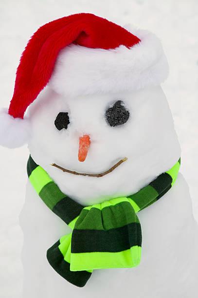 Snowman Wearing a Santa Hat:スマホ壁紙(壁紙.com)