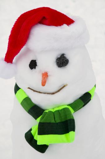雪だるま「Snowman Wearing a Santa Hat」:スマホ壁紙(1)