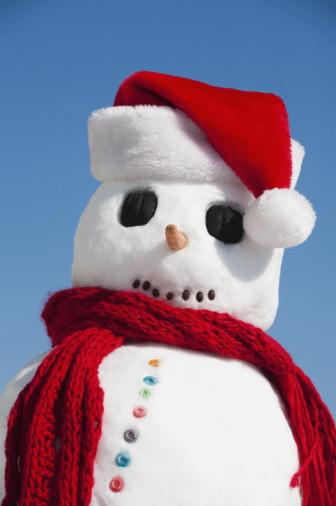 雪だるま「Snowman wearing Santa hat」:スマホ壁紙(13)