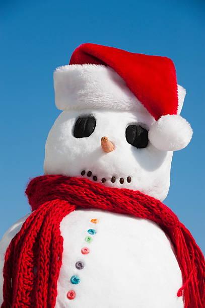 Snowman wearing Santa hat:スマホ壁紙(壁紙.com)
