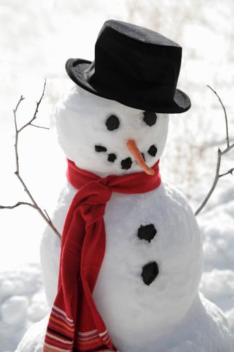 雪だるま「Snowman wearing top hat」:スマホ壁紙(7)
