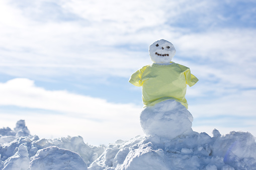 雪だるま「snowman wearing a yellow shirt」:スマホ壁紙(10)