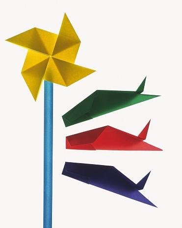 こいのぼり「Origami Carp streamers, High Angle View」:スマホ壁紙(6)
