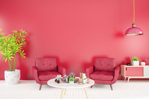 Pastel Colored「Red Interior with Armchair」:スマホ壁紙(13)