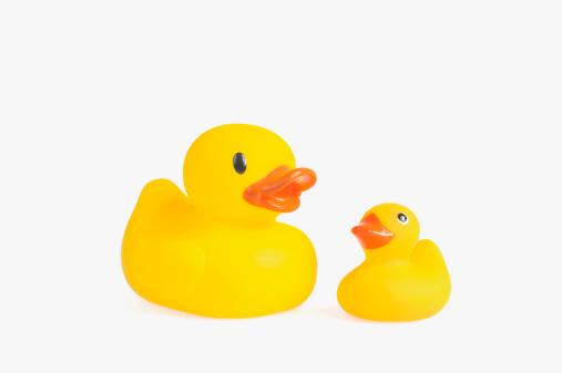 おもちゃのアヒル「A small and a large rubber duck.」:スマホ壁紙(19)