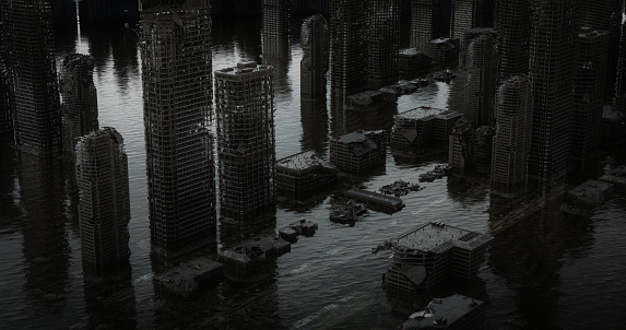 Hell「Flooded Post Apocalyptic Urban Landscape (Aerial View)」:スマホ壁紙(1)