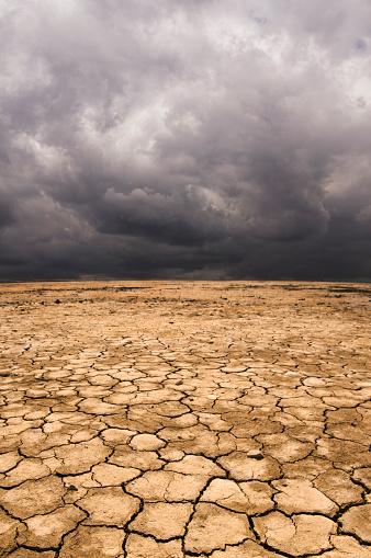 Lake Bed「Cracked earth under cloudy sky in desert landscape」:スマホ壁紙(19)