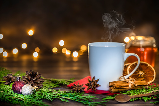 Coffee - Drink「Cup of hot Christmas drinks with copy space stock photo」:スマホ壁紙(17)
