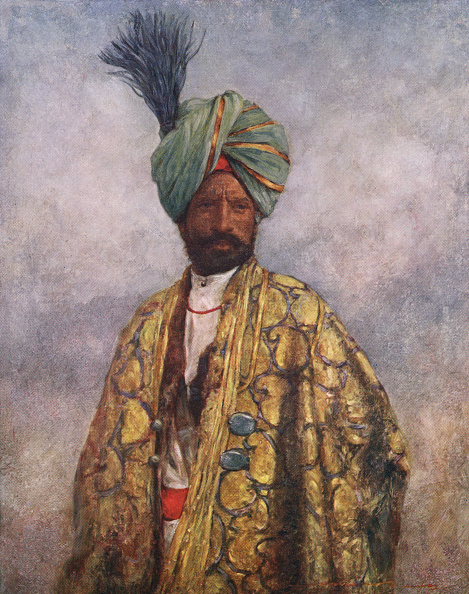 Embroidery「Kashmiri soldier wearing a lavish golden embroidered cape and a turquoise and gold feathered turban」:写真・画像(16)[壁紙.com]