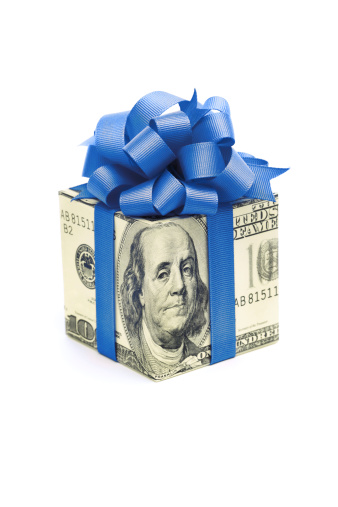 Employment And Labor「Money Gift of Dollar Bill with Blue Ribbon on White」:スマホ壁紙(3)