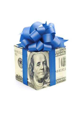 American One Hundred Dollar Bill「Money Gift of Dollar Bill with Blue Ribbon on White」:スマホ壁紙(2)