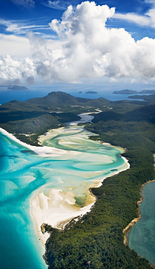 Queensland「Aerial picture of the Whitehaven beach」:スマホ壁紙(4)