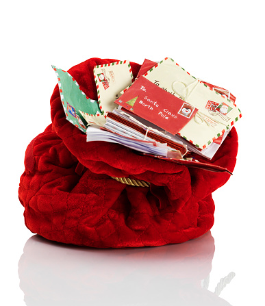 Christmas card「Red Santa Claus mailbag stuffed with letters」:スマホ壁紙(6)