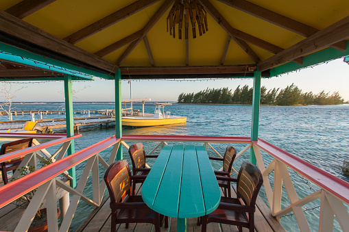 Resort「Colorful tables in open air restaurant on tropical island.」:スマホ壁紙(4)