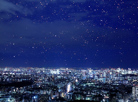 星空「Night view of the direction of Chiyoda Ward, Tokyo, Japan.」:スマホ壁紙(10)