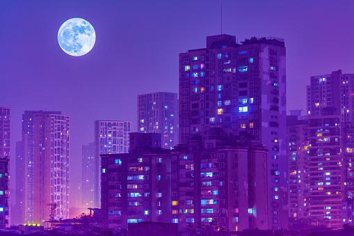 月「Night view of Chongqing City,China」:スマホ壁紙(12)