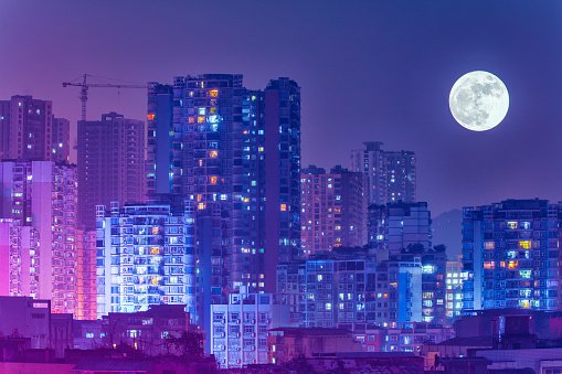 月「Night view of Chongqing City,China」:スマホ壁紙(5)