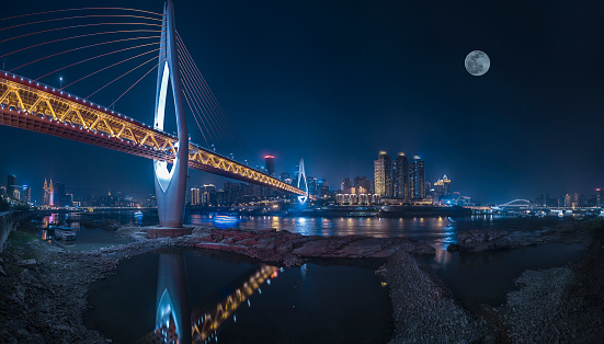 月「Night view of Chongqing City, China」:スマホ壁紙(9)