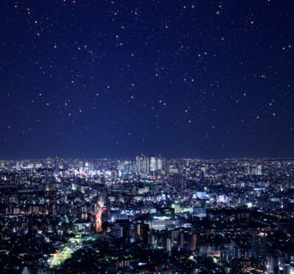 星空「Night view of Shinjuku Complex, Tokyo, Japan.」:スマホ壁紙(12)