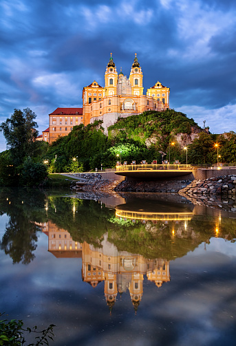 Abbey - Monastery「Night view of the famous St. Peter and Paul Church in Melk Benedictine Abbey, Wachau Valley, Lower Austria」:スマホ壁紙(9)
