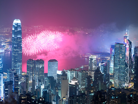 Victoria Peak「Night view of cityscape with fireworks display, Hong Kong, China」:スマホ壁紙(9)