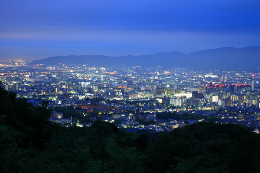 京都の夜「Night View of Cityscape of Kyoto, Kyoto, Kyoto, Japan」:スマホ壁紙(16)