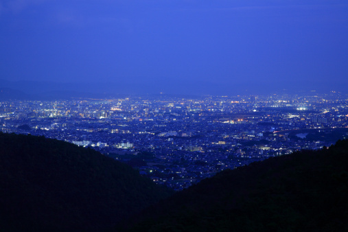 京都の夜「Night View of Cityscape of Kyoto, Kyoto, Kyoto, Japan」:スマホ壁紙(15)