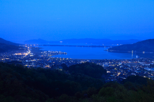 京都の夜「Night View of Ama-no-hashidate, Miyazu, Kyoto, Japan」:スマホ壁紙(18)