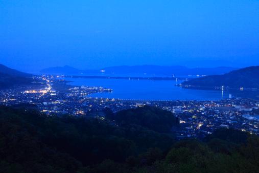 京都の夜「Night View of Ama-no-hashidate, Miyazu, Kyoto, Japan」:スマホ壁紙(7)