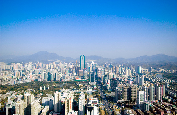 Clear Sky「Shenzhen skyline with landmark Diwang Building, Guangdong, China」:写真・画像(2)[壁紙.com]