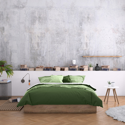 Home Interior「Large bedroom interior with blank wall」:スマホ壁紙(3)