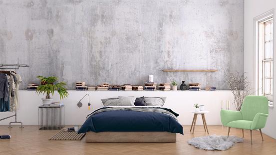Motel「Large bedroom interior with blank wall」:スマホ壁紙(15)