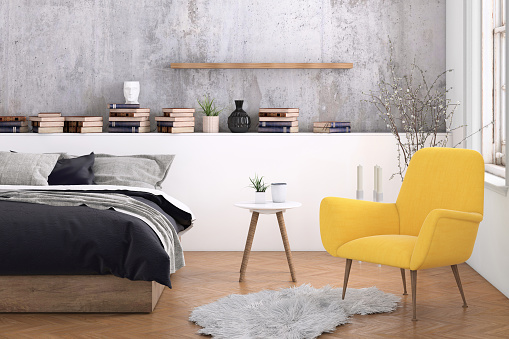Template「Large bedroom interior with blank wall」:スマホ壁紙(5)