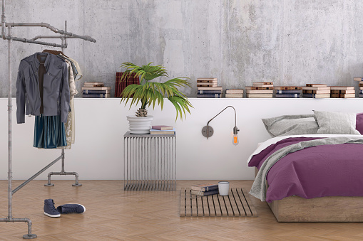 Finland「Large bedroom interior with blank wall」:スマホ壁紙(11)