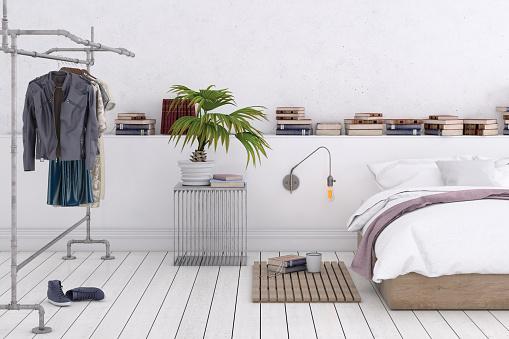 Motel「Large bedroom interior with blank wall」:スマホ壁紙(8)