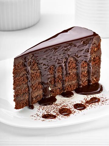 Temptation「Piece of cream chocolate cake on white plate」:スマホ壁紙(19)