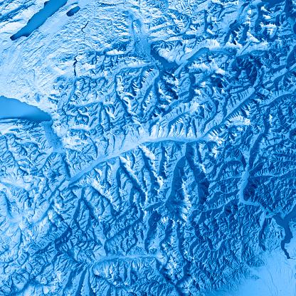 France「Valais Canton Switzerland 3D Render Topographic Map Blue」:スマホ壁紙(15)