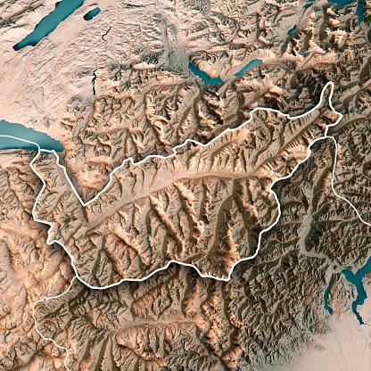 Map「ヴァレー州スイス連邦共和国 3 D レンダリング地形図中立的な境界線」:スマホ壁紙(18)