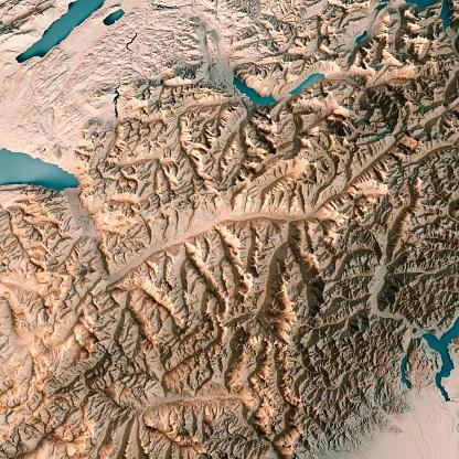 Map「ヴァレー州スイス連邦共和国 3 D レンダリング地形図ニュートラル」:スマホ壁紙(17)