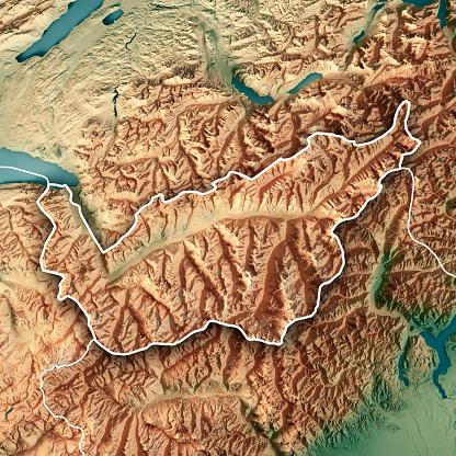 Map「ヴァレー州スイス連邦共和国 3 D のレンダリングの地形マップの枠線」:スマホ壁紙(16)