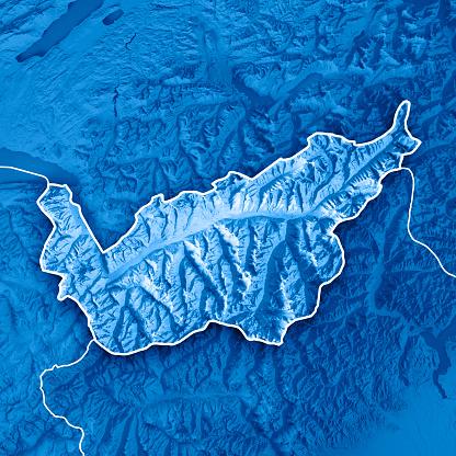 Map「ヴァレー州スイス連邦共和国 3 D レンダリング地形図青枠」:スマホ壁紙(19)