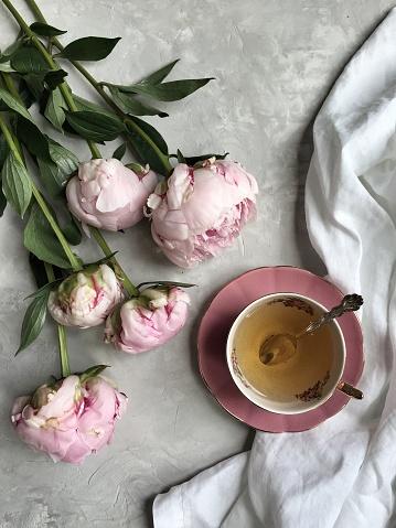 Tea「Pink peonies with a cup of tea」:スマホ壁紙(14)