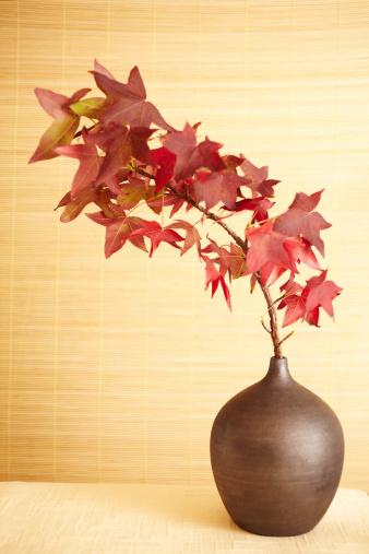 かえでの葉「静物の赤の花瓶のカエデの葉」:スマホ壁紙(7)