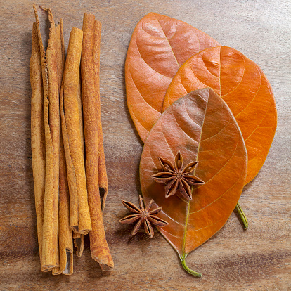 Star Anise「Still life of cinnamon sticks, anise cloves, and autumn leaves arranged on wooden surface」:スマホ壁紙(12)