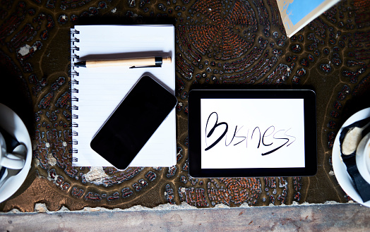 Pen「Still life with cell phone, tablet, pen and notebook on an antique table」:スマホ壁紙(14)