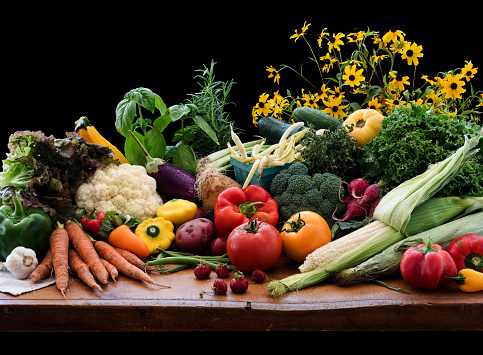 Cauliflower「Still life with various vegetables and flowers」:スマホ壁紙(9)
