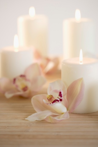 Health Spa「Still life of orchids and candles」:スマホ壁紙(14)