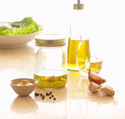Vinaigrette Dressing「Still life with jar and bottle of olive oil」:スマホ壁紙(3)