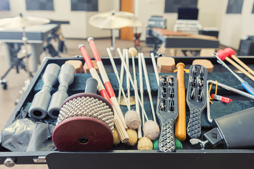 Musical Conductor「Still life photo of hand held percussion instruments in music studio」:スマホ壁紙(2)